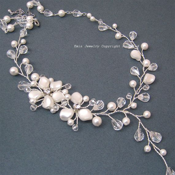 Pearl Bridal Necklace Swarovski Pearl Wedding Necklace Ivory Off