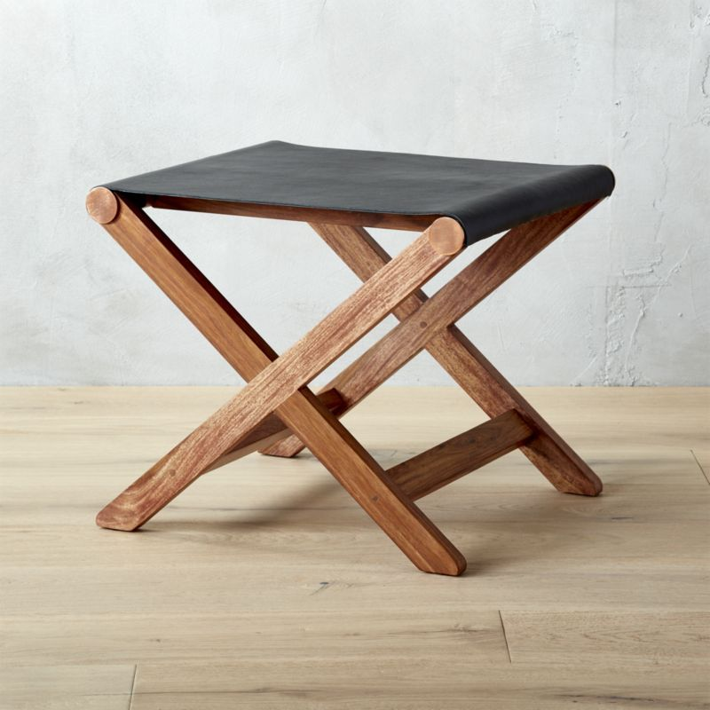Peachy Curator Black Leather Stool Table Cb2 Havenly Leather Machost Co Dining Chair Design Ideas Machostcouk