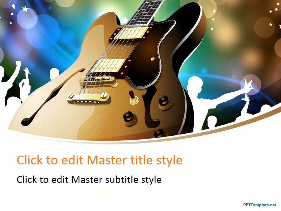 free guitar performance ppt template | music ppt templates, Powerpoint templates