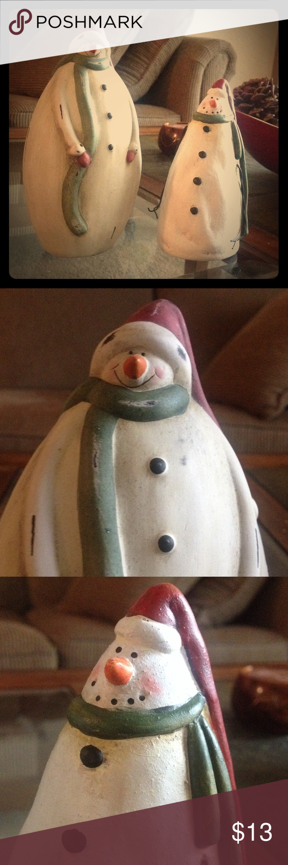"Snowman Decor Set Ceramic snowman set. Like new with no chips or cracks. 7.5 and 6"" tall. Smoke and animal free home. Other"