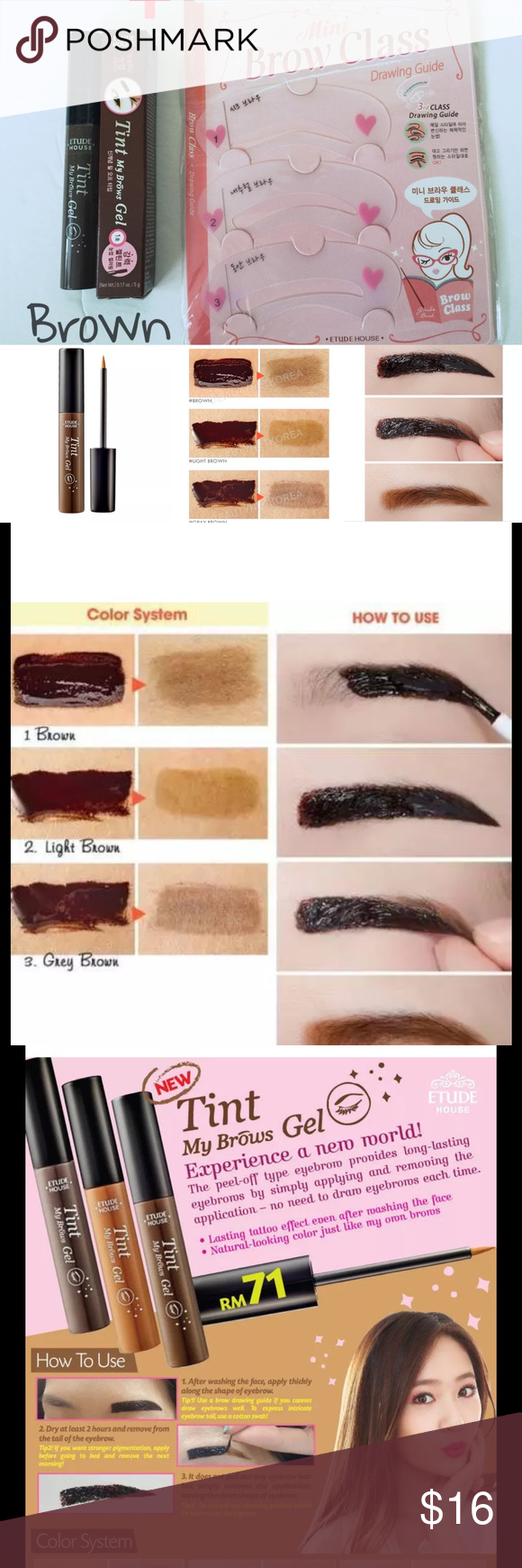 Etude House Tint My Brows Gel Stencil Kit Color Brown 5g New And Drawing Eyebrow Buy 1 Get Sealed