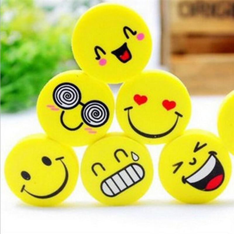 120 Pcs Lot Smile Yellow Emoji Cartoon Face Eraser Stationery School Supplies For Kids Emoji Erasers Kids Stationery Emoji School Supplies