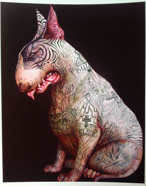 Tattoo English Bull Terrier Signed Print Minibull Art Dominic Murphy Bully Rare | eBay