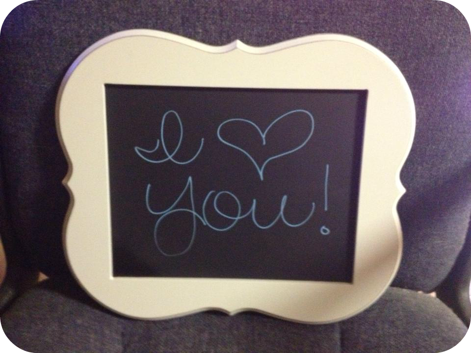 Chalkboard frame. Buy cheap, cute frame from craft store and spray ...