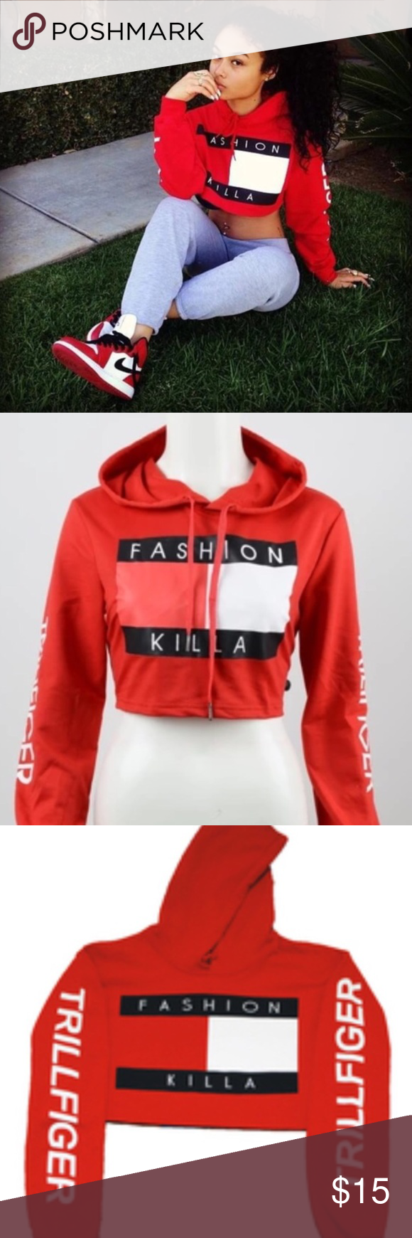 900fea2af7a6d2 'Fashion Killa' Crop Hoodie Brand new in packaging Tommy Hilfiger Tops Crop  Tops