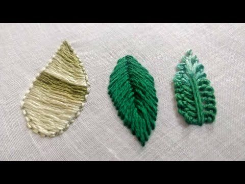 3 Easy Embroidery Leaf Designs 2 Hand Embroidery Work Youtube