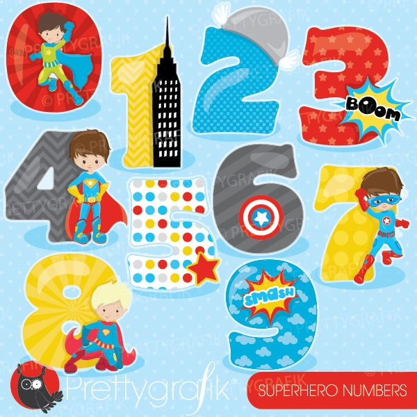 Superhero numbers clipart set ideal for class decorations, craft ...
