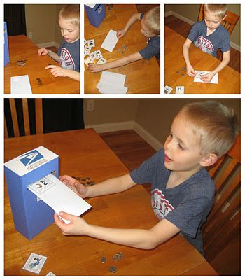 """Postage Paid Coin Counting Activity: Kids count coins from an envelope, find the stamp with the same amount, stick it on the envelope, and """"mail"""" it. Downloadable stamp templates."""
