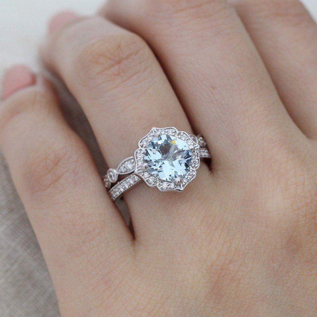 Vintage style bridal ring set of a cushion aquamarine engagement