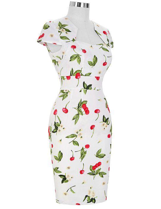 6e7b0ed7795 GRACE KARIN®Women Vintage Dress Cap Sleeve BodyCon 50s Dresses CL7597 (Large