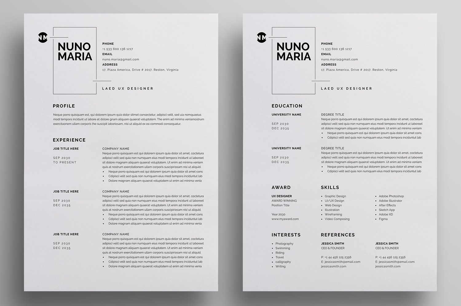 Resume Cv In 2020 Letterhead Design Resume Cv Planner Template