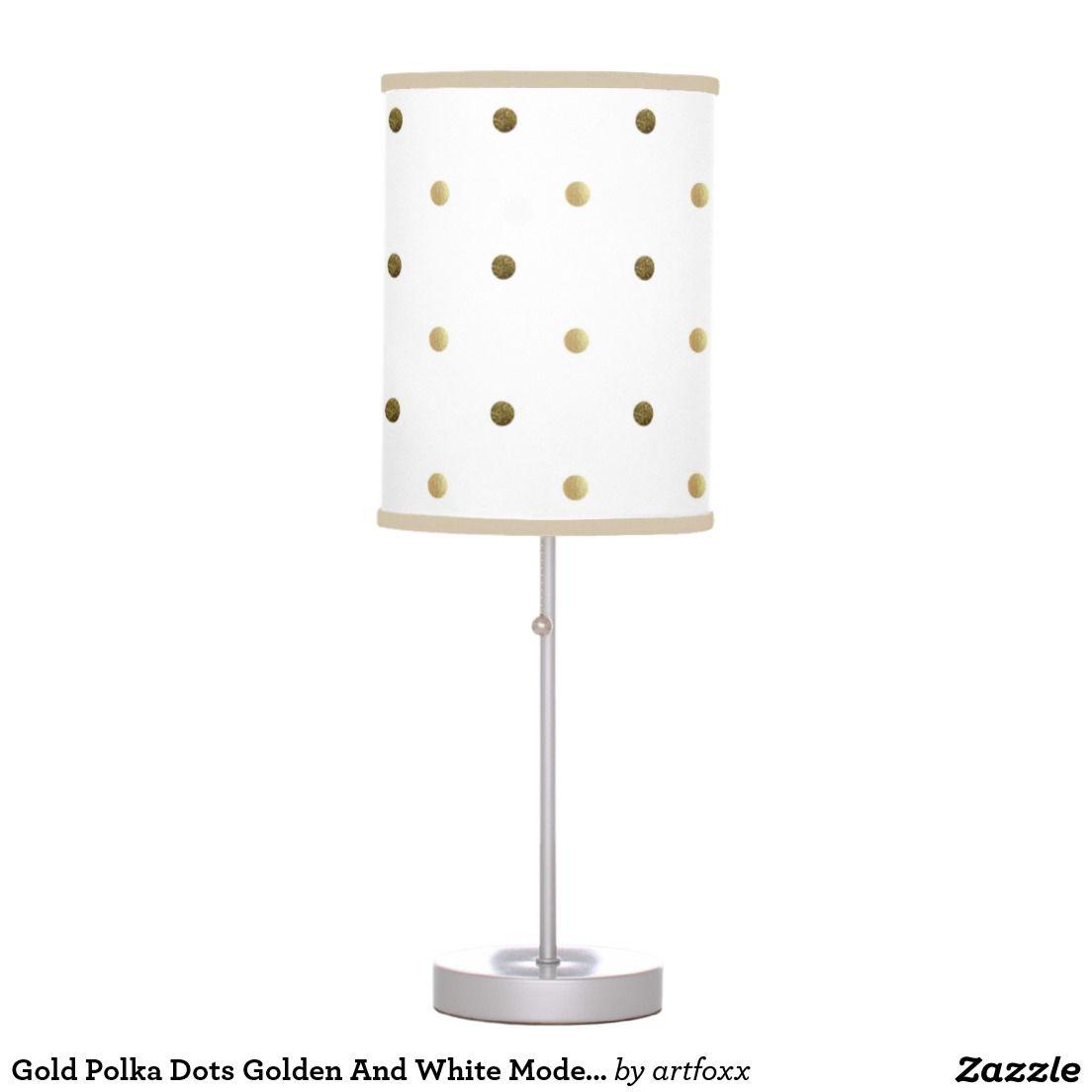 Gold Polka Dots Golden And White Modern Design Table Lamp Zazzle Com Lamp Modern Design Table Design