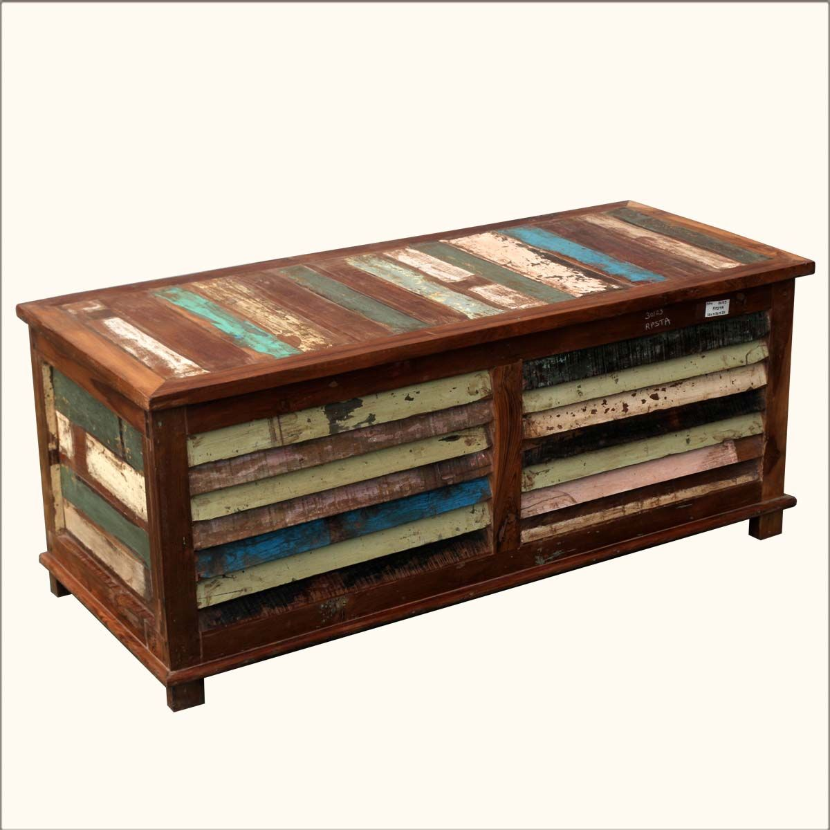 Rustic Reclaimed Wood Multi-Color Coffee Table Storage Trunk Chest - Rustic Reclaimed Wood Multi-Color Coffee Table Storage Trunk Chest