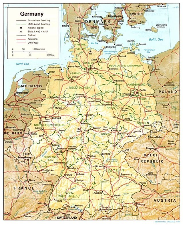 Maps Of Germany Relief Map Of Germany With Major Roads Germany