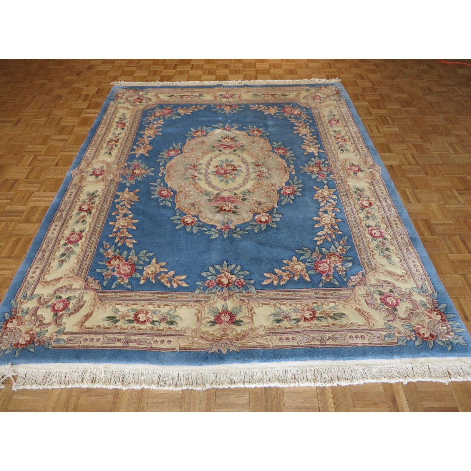 100 Percent Wool Chinese Aubusson Hand Knotted Rug Rugs