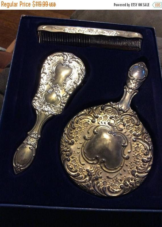 big sale 82f92 837d6 XmasGifts 5.00 shipping USA Silver Plated Dresser Set 3 ...
