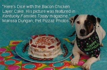 Chicken Birthday Cake For Dogs ~ Chicken birthday cake frosted with yogurt and topped with bacon