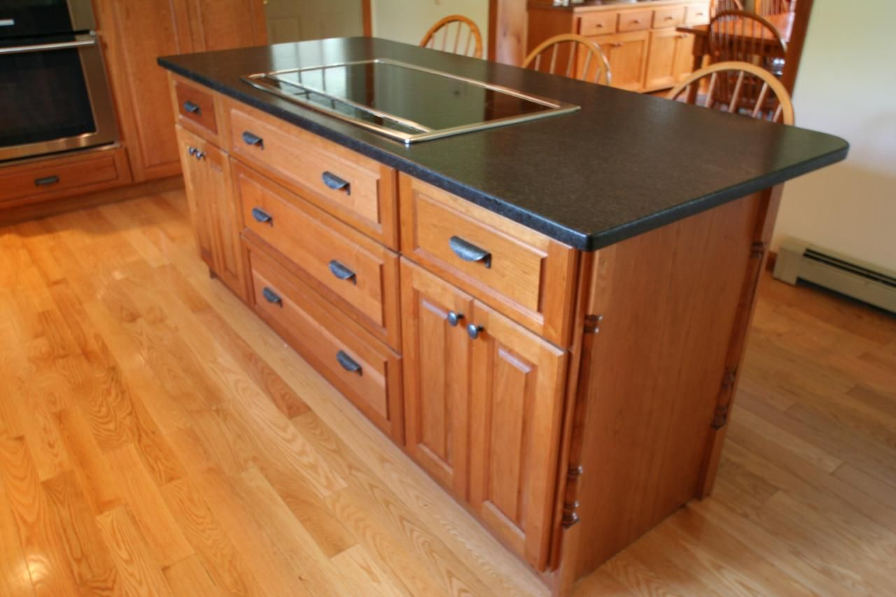 Cherry Island with a Colonial Cherry Stain with Cambrian ... on Black Granite Stain  id=99465
