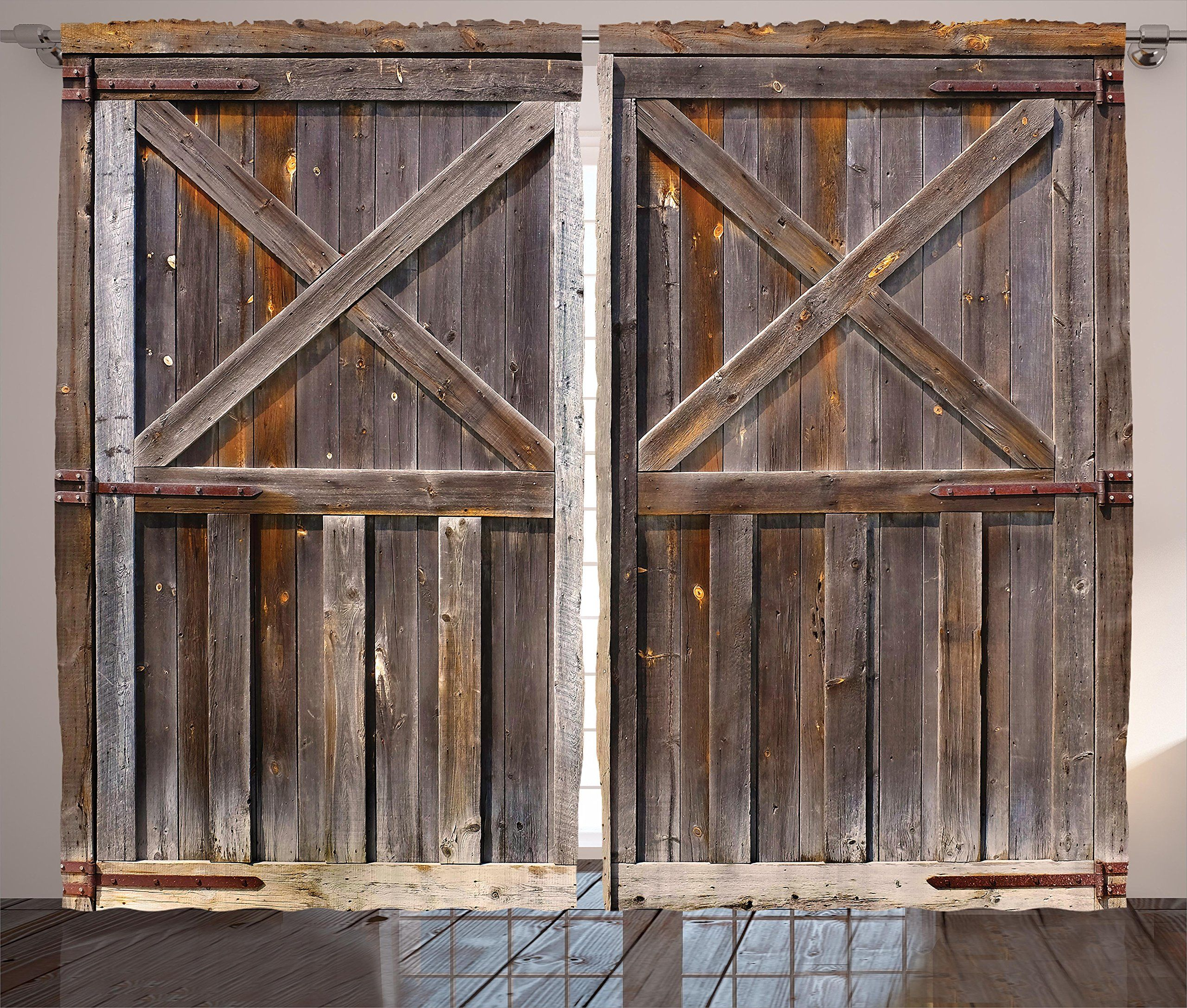 Rustic Curtains Decor By Ambesonne Old Wooden Barn Door Of Farmhouse Oak Countryside Village Board Rur Rustic Shower Curtains Wooden Barn Doors Rustic Curtains