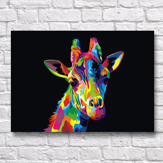 Populaire Abstract Giraffe POP-ART - Animal & Birds WPAP A4 Wall Art Prints  JD57