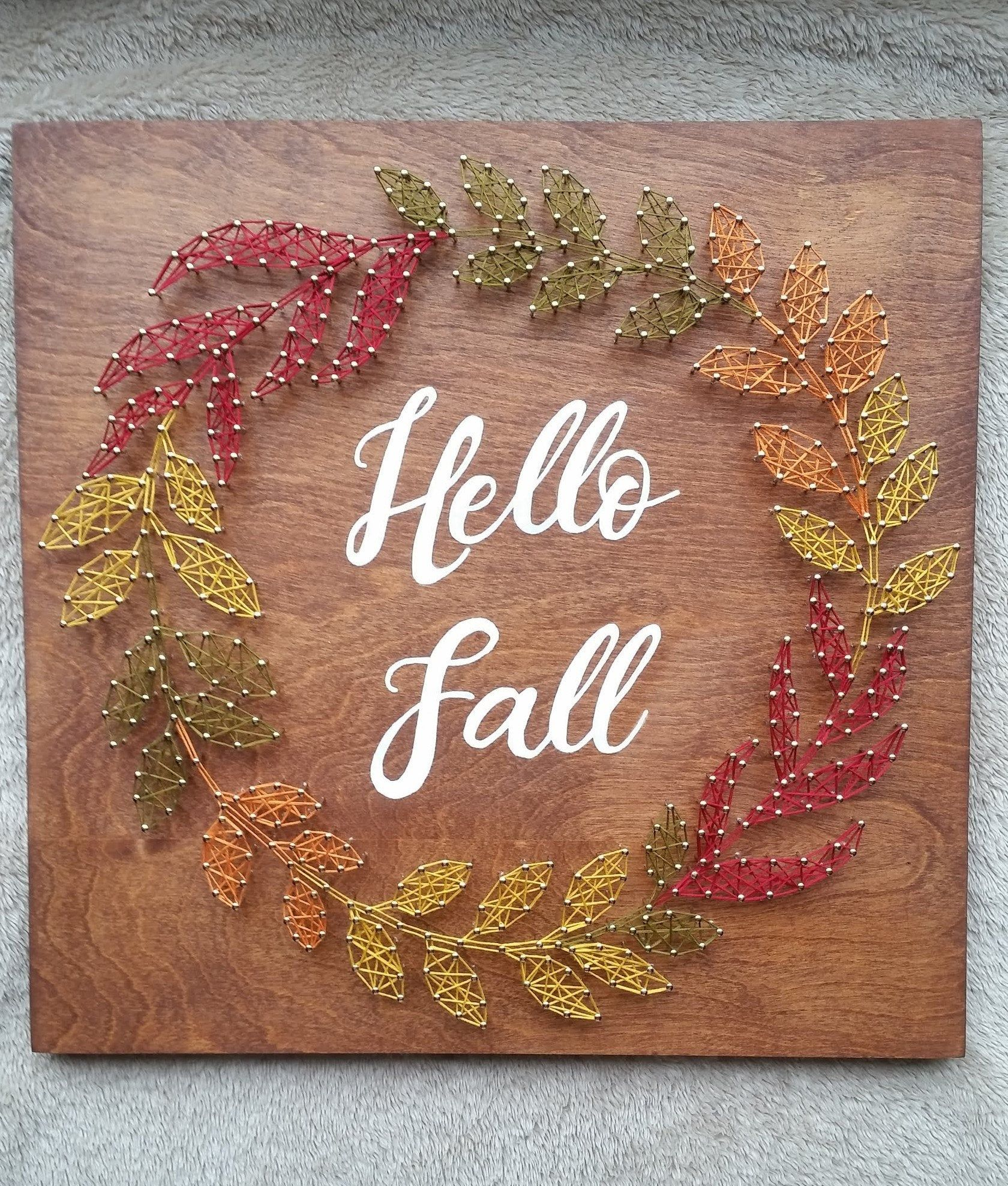 Fall Wreath String Art, Hello Fall Decor #stringart