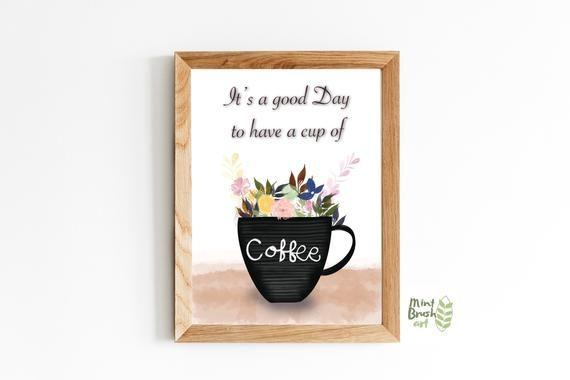 Coffee mug printable sign instant download card frame for | Etsy