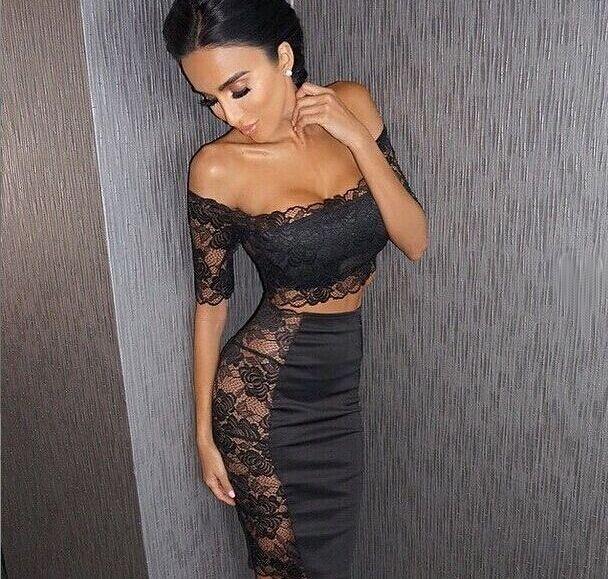 Lace two piece dress sets