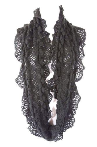 Crochet ruffle lace infinity scarf