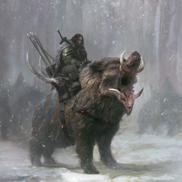 Warrior Riding A Wild Boar A Huge Wild Boar By