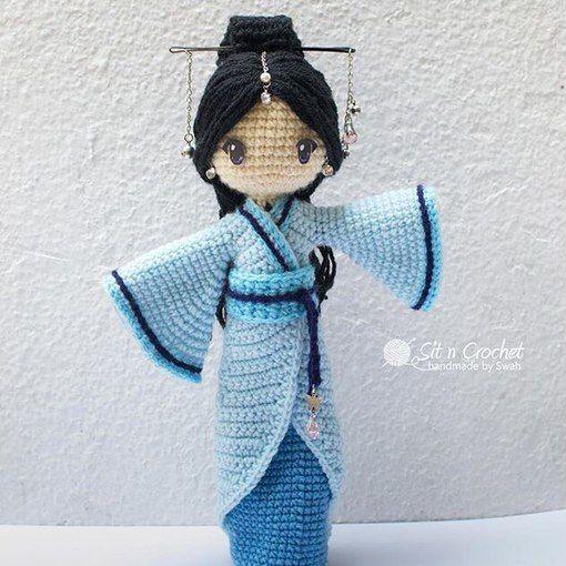 Japanese Amigurumi Doll Patterns : Amigurumi Japanese girl doll in a kimono. (Inspiration ...