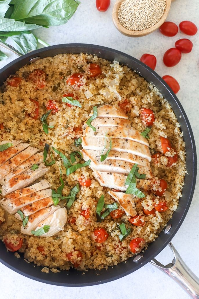 Photo of Tomato Basil Chicken & Quinoa Skillet