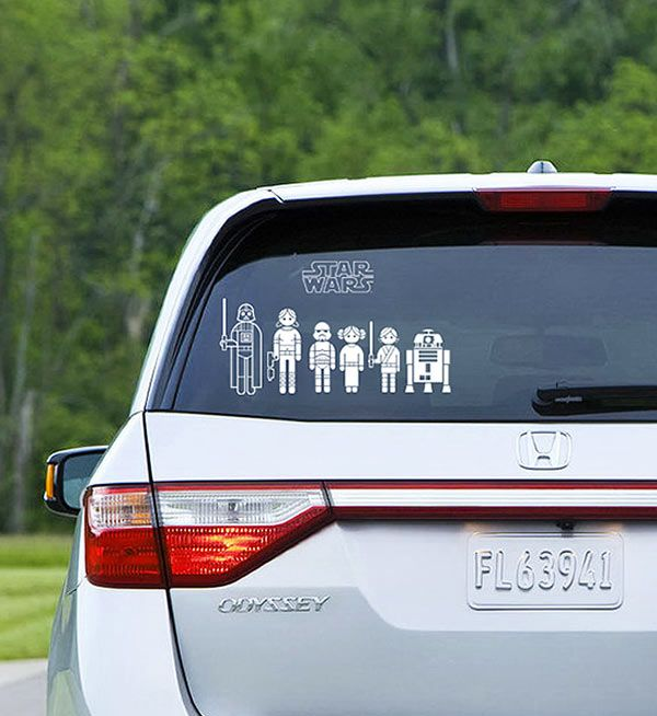 Thinkgeek star wars family car decals i abhor the family window decal this however kicks ass