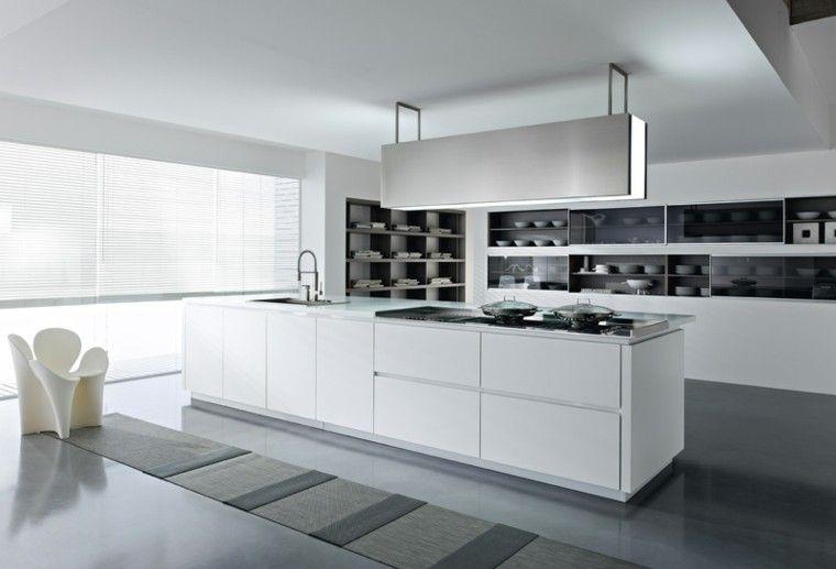 diseño cocinas blancas sendero alfombra marrona Interiores para