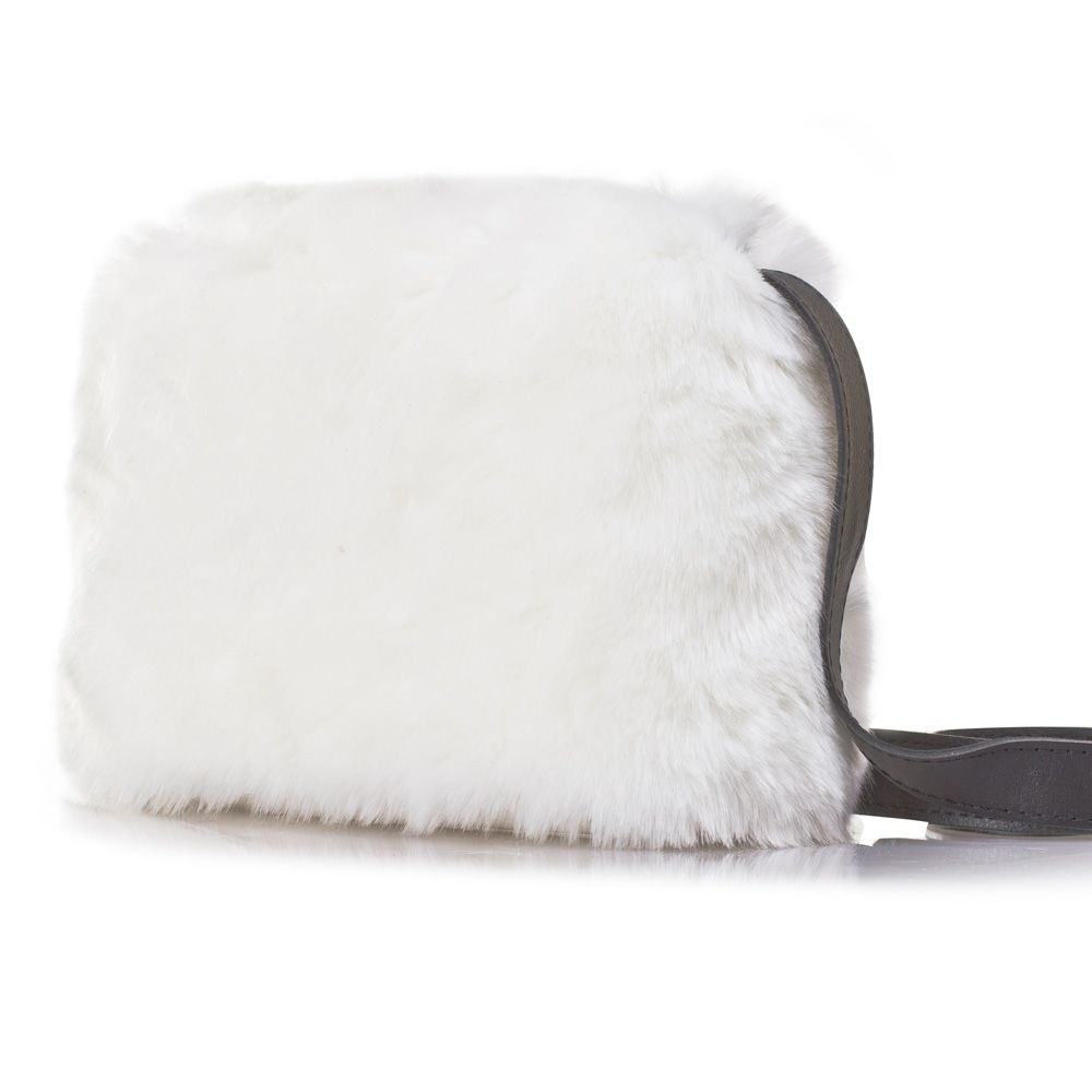 O Pocket shoulder bag by Fullspot - in White with white faux mink fur hood, and black leather strap. #Womens #fashion