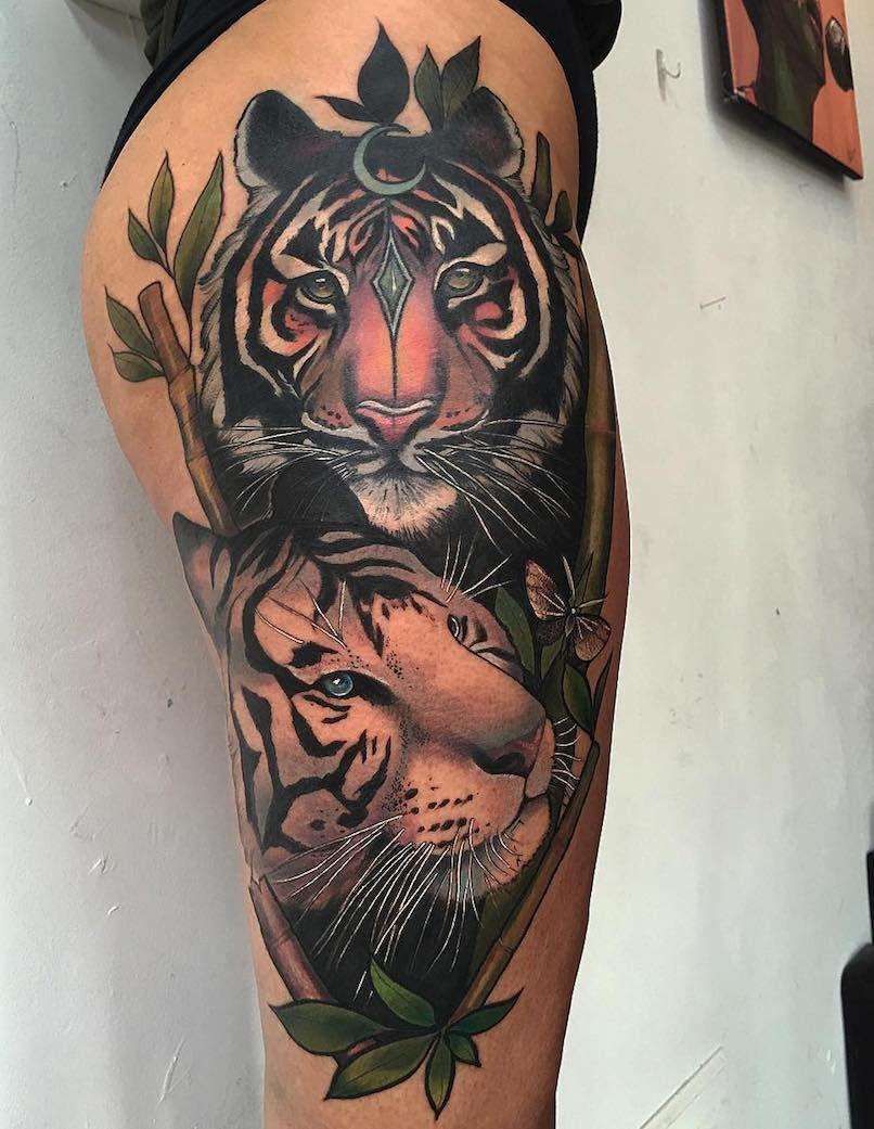 Tiger Tattoos Tattoo Insider Tattoos Thigh Tattoos Women Tiger Tattoo