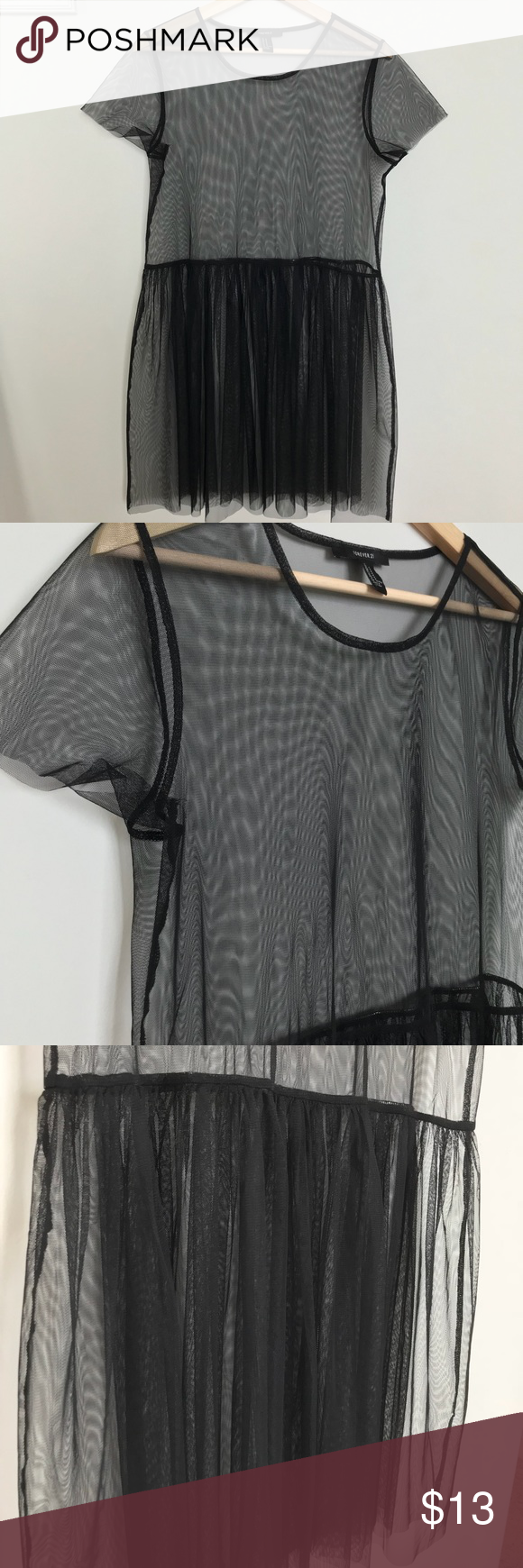 Sheer black babydoll dress this dress can be worn with a black