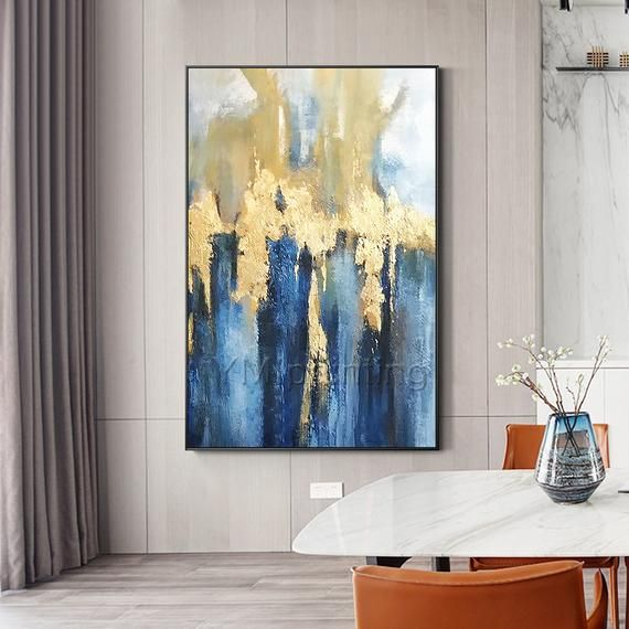 Gold art Modern Abstract acrylic Paintings on canvas Original Extra large blue texture painting fram