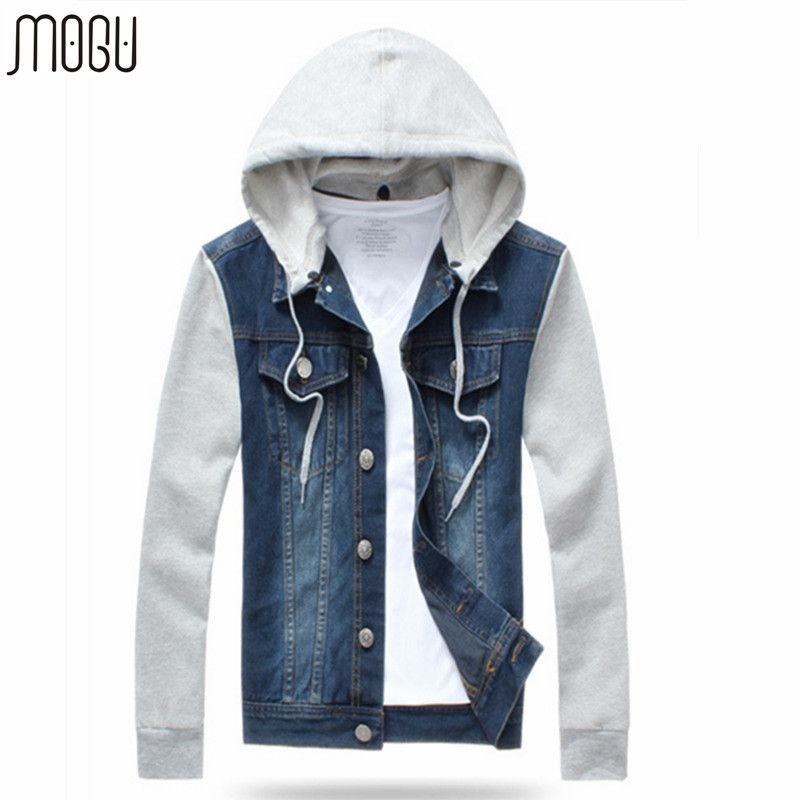 MOGU 2017 New Arrival Jeans Jacket Men Hooded Sweatshirt Sleeve ...