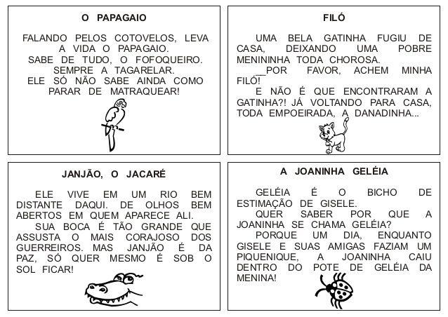 Pequenos Textos Para Leitura Língua Portuguesa Reading