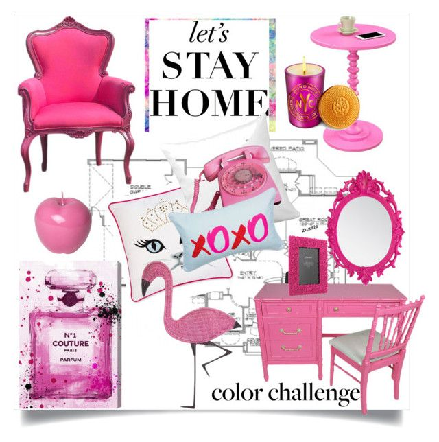 """Color Challenge: Red and Pink"" by sally92 ❤ liked on Polyvore featuring interior, interiors, interior design, home, home decor, interior decorating, WALL, Home Source International, Betsey Johnson and Dot & Bo"