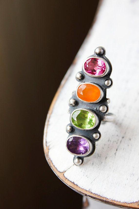 Cocktail ring multi gemstone peridot pink topaz by BelindaSaville, $186.00