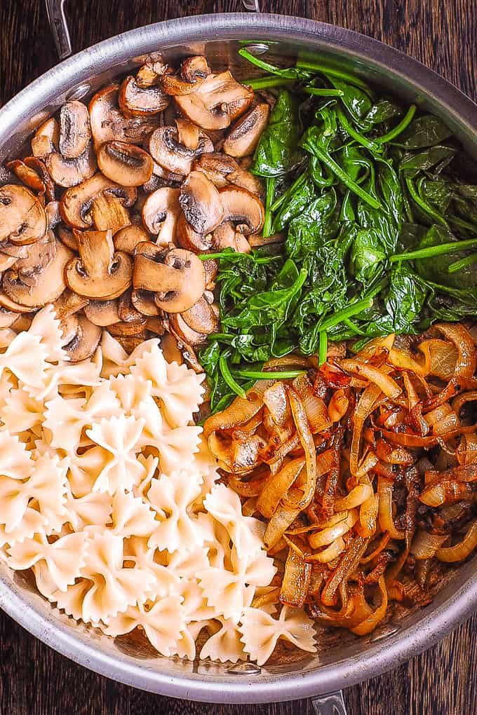 Photo of Bow Tie Pasta with Spinach, Mushrooms, Caramelized Onions