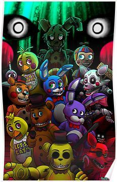 Fnaf All Togheter Poster By Redelisa Fnaf Wallpapers Fnaf - roblox aftons family diner secret character 8 roblox flee the
