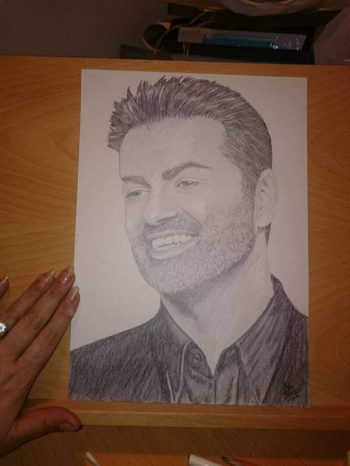 George Michael Available for sale Sketch only £20 Framed in A4 frame ...
