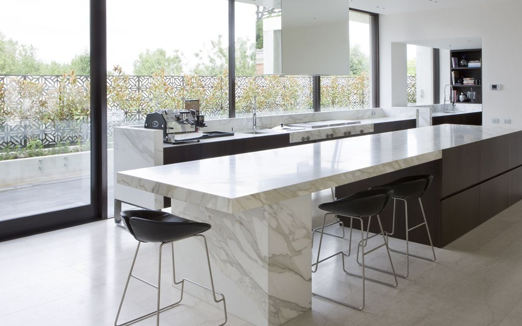 Extra Long Kitchen Island rob mills - strong, simple, statement bench top overhang extra