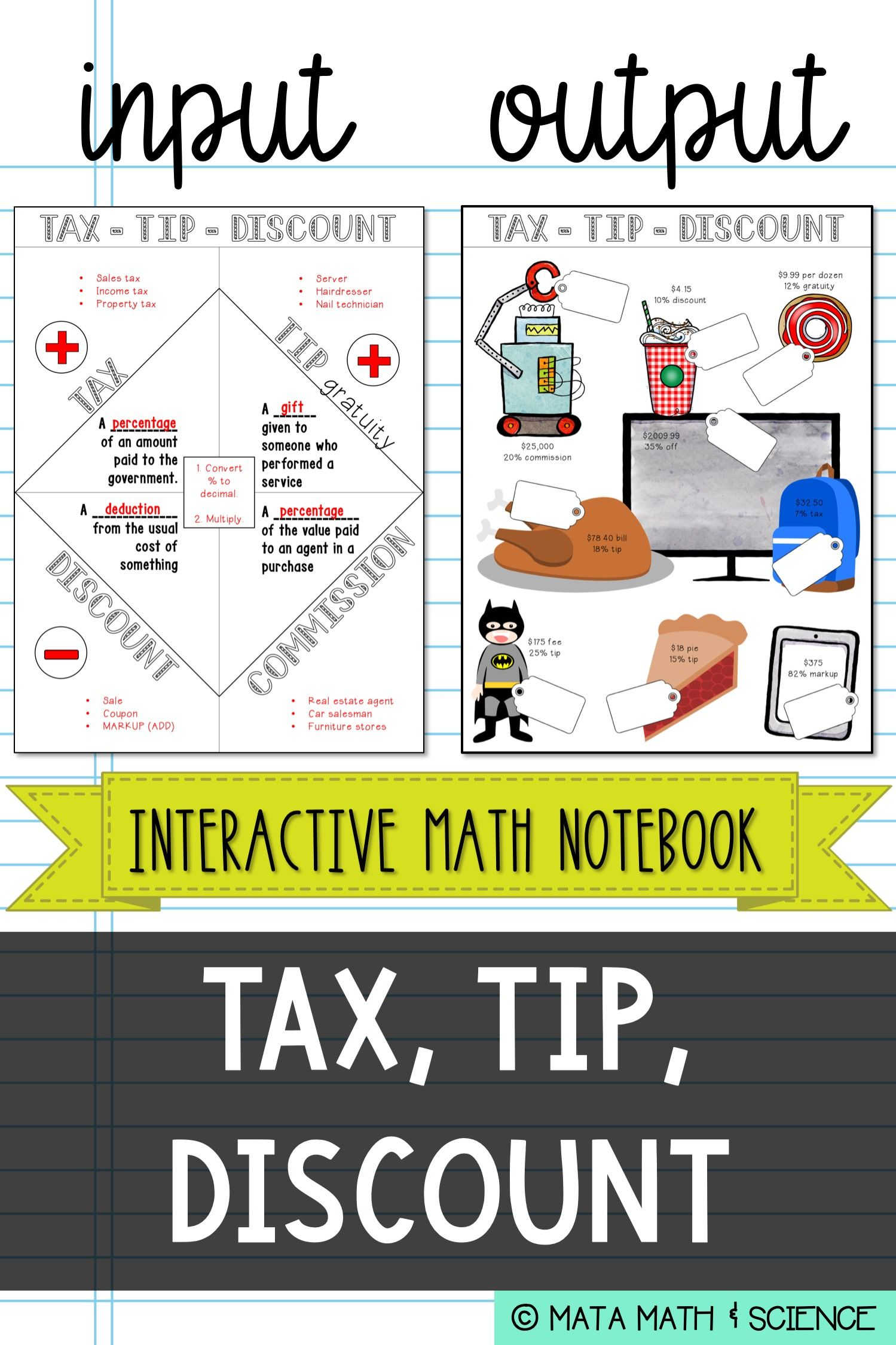 Tax Tip And Discount Interactive Notebook Notes And Practice Page Math Interactive Interactive Notebooks Math Books