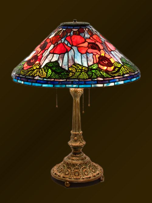 colorful poppy stained glass floral lamp tiffany lampshade poppy tiffany table lamp red