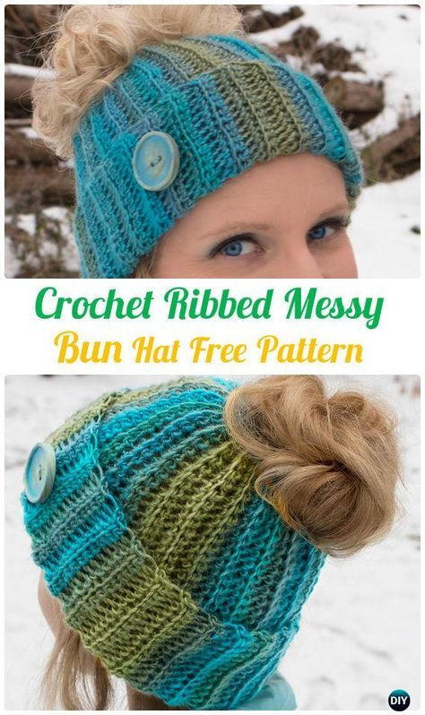 Crochet Ponytail Messy Bun Hat Free Patterns [Instructions] #messybunhat
