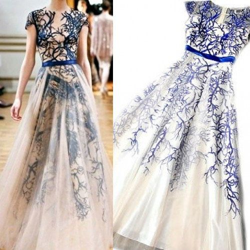 New Organza Embroidery Blue White Sheer Long by Luminositylondon ...