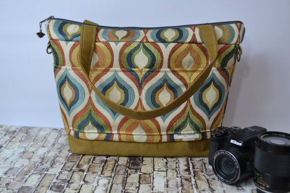 Camera Purse & tote Bag / in shades of rust, blues, greens - Artisan tote messenger strap / made in the USA by Darby Mack #camerapurse